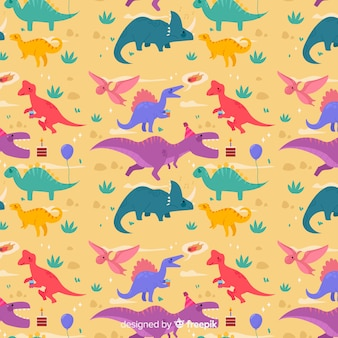 Colorful flat dinosaur pattern