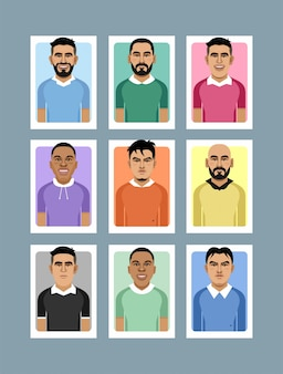 Colorful flat face avatar character with half body