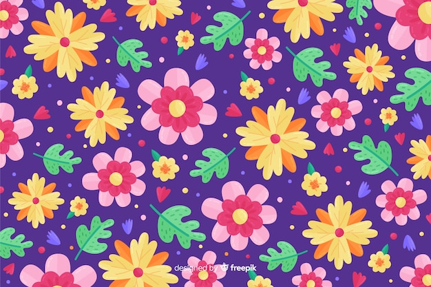 Colorful flat flowers decorative background