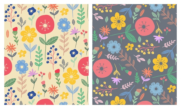 Colorful flat flowers seamless patterns set