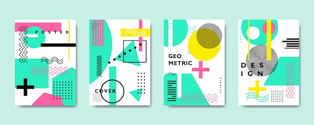 Colorful flat geometric cover collection, memphis style