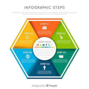 Colorful flat infographic steps concept