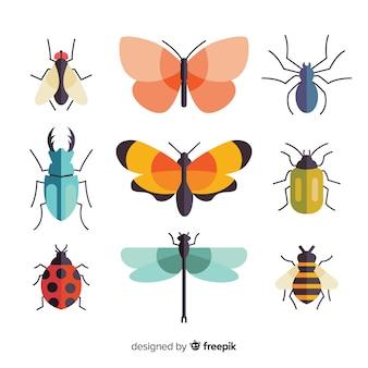 カラフルなフラット昆虫パック