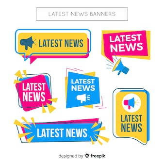 Colorful flat lastest news banner collection