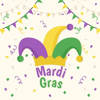 Colorful flat mardi gras concept