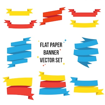 Colorful flat paper ribbon set