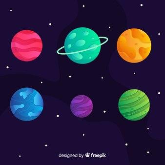 Набор красочных плоских планет