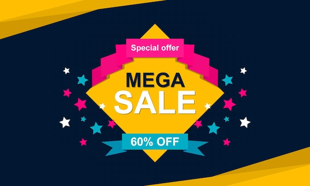 Colorful flat sale banner background vector illustration