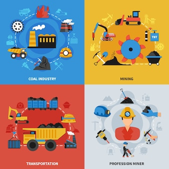 Colorful flat set of 2x2 illustration with coal mining industry miners and transportation elements