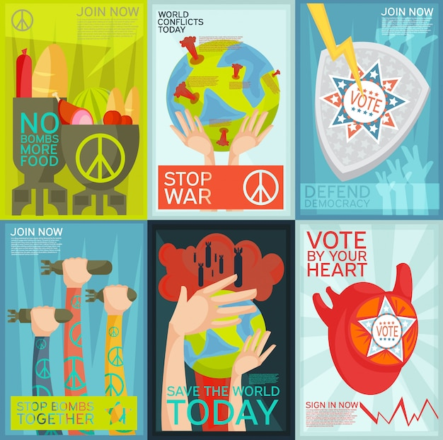 Colorful flat set of social and political propaganda posters