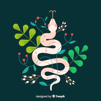 Colorful flat snake illustration