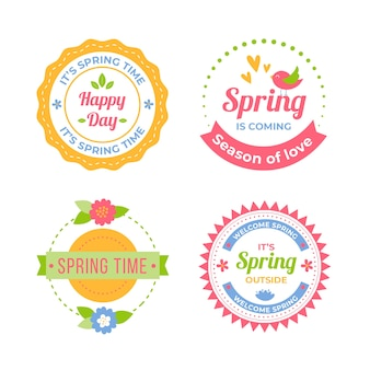 Colorful flat spring badge collection
