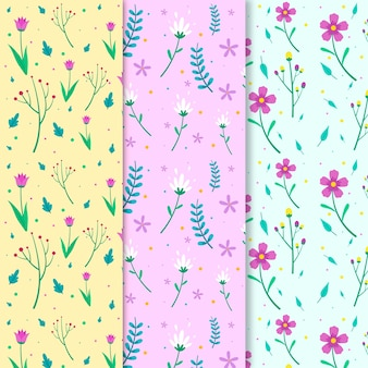 Colorful flat spring pattern collection