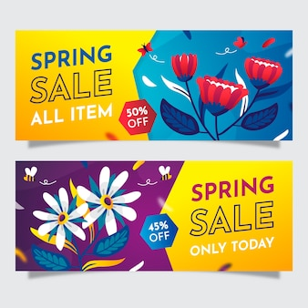 Colorful flat spring sale banners