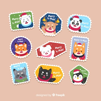 Colorful flat stamp christmas collection