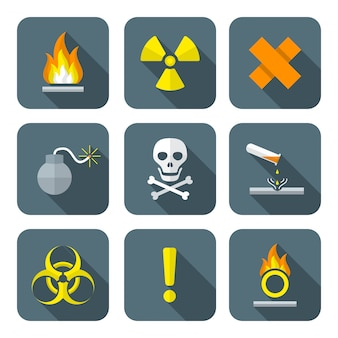Colorful flat style hazardous waste symbols warning icons