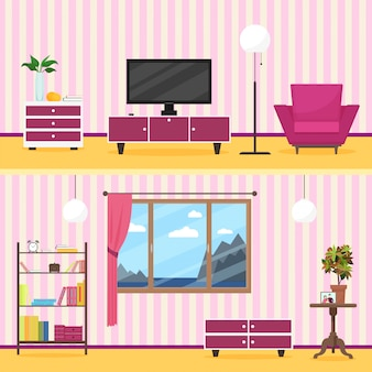Colorful flat style modern living room interior