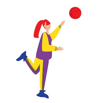 Colorful flat style vector illustration of young female in sportive outfits playing volleyball isola...