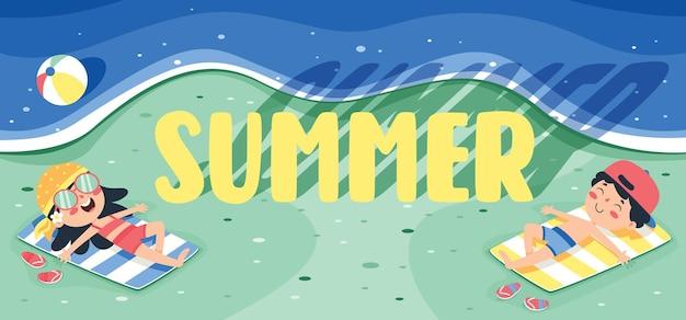 Красочный плоский летний баннер