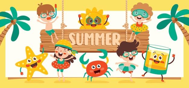 다채로운 평면 여름 배너