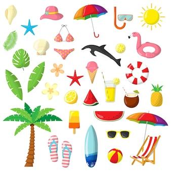 Пакет красочных плоских летних элементов.