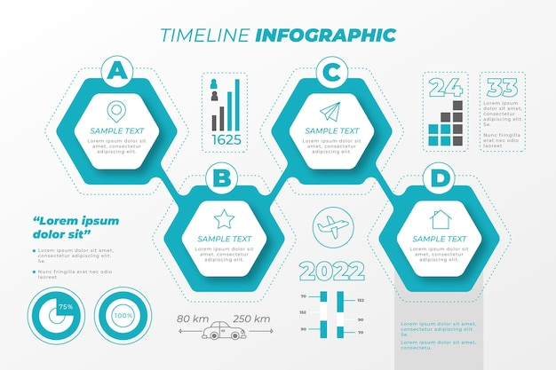 Colorful flat timeline infographic