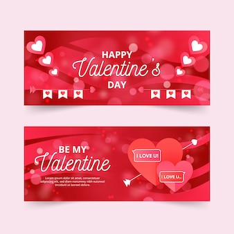 Colorful flat valentine's day banners
