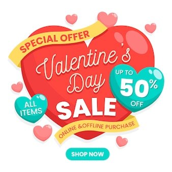 Colorful flat valentines day sale