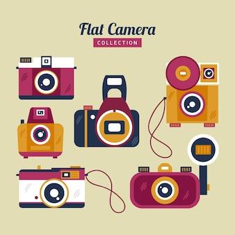 カラフルなフラットビンテージカメラコレクション