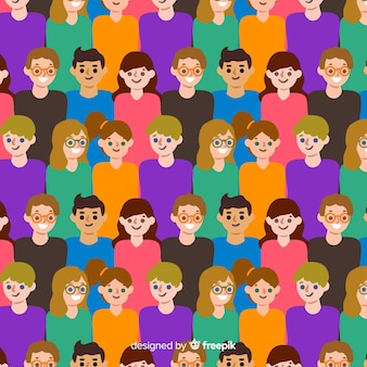 Colorful flat youth people pattern