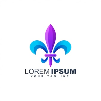 Colorful fleur de lis abstract logo design template