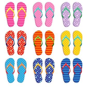 Colorful flip flops various designs