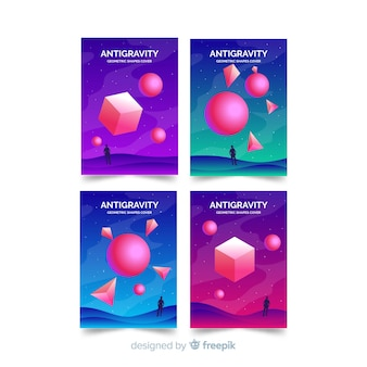Colorful floating 3d polygon brochure set