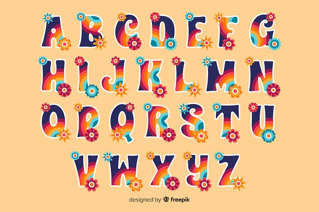 Colorful floral alphabet in 60's style