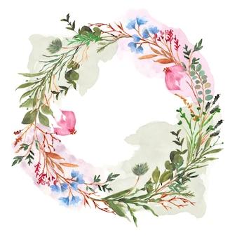 カラフルな花とスプラッシュ水彩花輪