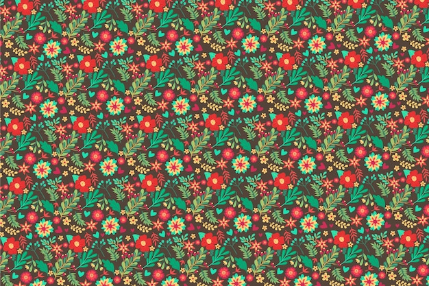 Colorful floral background in ditsy style