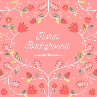 Colorful floral background in flat style