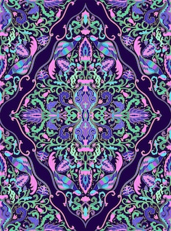 Colorful floral background. pattern with stylized birds, vase and flowers.
