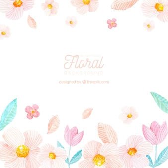 Colorful floral background in watercolor style