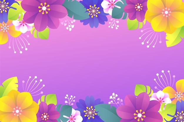 フラットなデザインとカラフルな花の背景