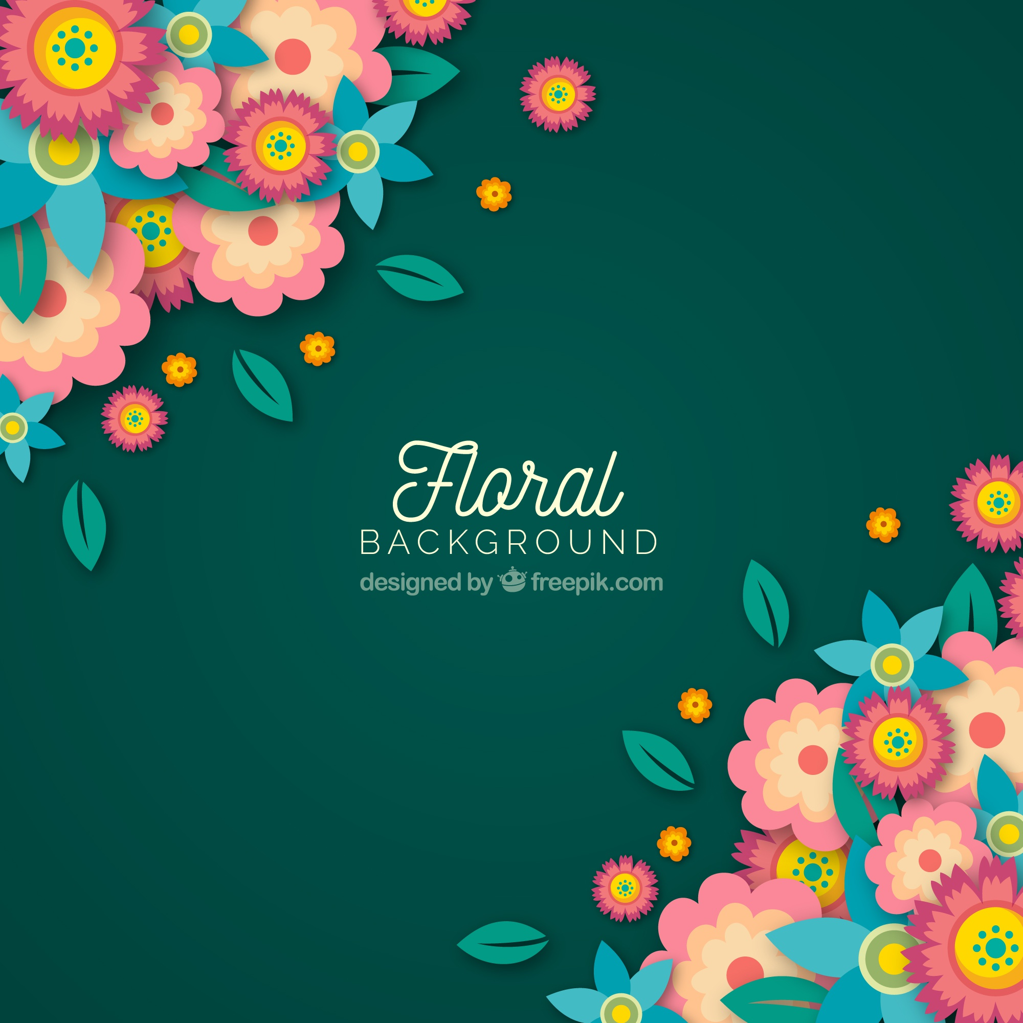 Colorful floral background with flat design