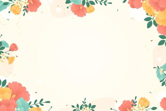 フレームとカラフルな花の背景