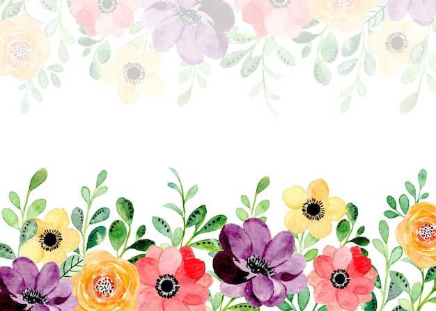 Colorful floral background with watercolor