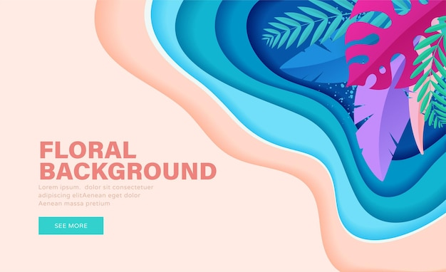 Colorful floral banner with tropical leaves for summer sales and discount. landing page
