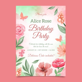 Colorful floral birthday card template