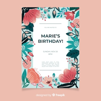 Colorful floral birthday invitation template