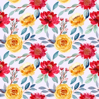 Colorful floral blooming watercolor seamless pattern