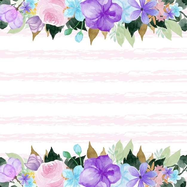 Colorful floral border with abstract line background