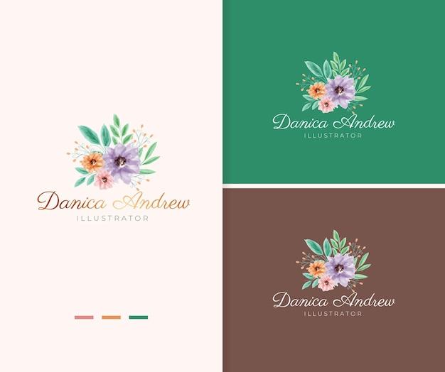 다채로운 꽃 꽃다발 수채화 로고 템플릿