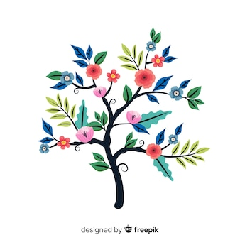 フラットなデザインでカラフルな花の枝